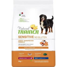 Сухой корм для собак Natural TRAINER Sensitive Medium & Maxi No Gluten безглютеновый, с лососем (для средних и крупных пород) 3 кг