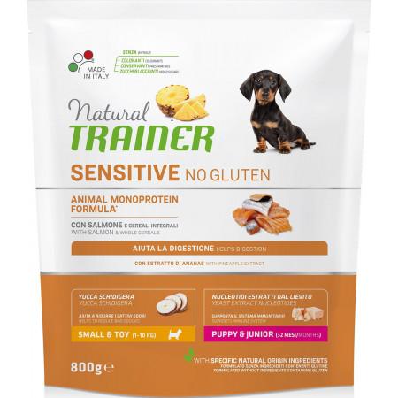 Сухой корм для щенков Natural TRAINER Sensitive Puppy & Junior Small & Toy No Gluten безглютеновый, с лососем (для мелких и миниатюрных пород) 800 г