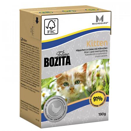 Влажный корм для котят, для беременных/кормящих кошек BOZITA Feline Kitten беззерновой, с курицей, кусочки в желе 190 г