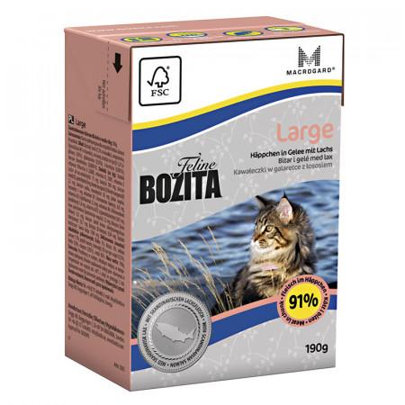 Влажный корм для кошек крупных пород BOZITA Feline Large беззерновой, с лососем, кусочки в желе 190 г