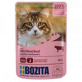 Влажный корм для кошек BOZITA беззерновой, с говядиной (кусочки в соусе) 85 г