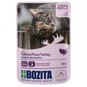 Влажный корм для кошек BOZITA беззерновой, с индейкой (кусочки в соусе) 85 г