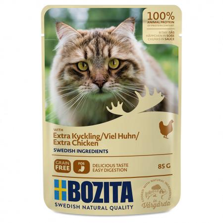 Влажный корм для кошек BOZITA беззерновой, с курицей (кусочки в соусе) 85 г