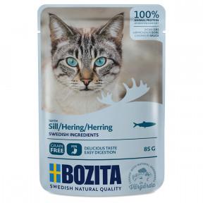 Влажный корм для кошек BOZITA беззерновой, с сельдью (кусочки в соусе) 85 г