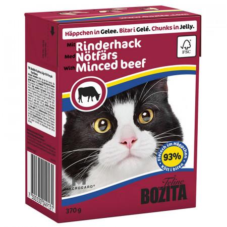 Влажный корм для кошек BOZITA Feline беззерновой, мясное ассорти с рубленой говядиной (кусочки в желе) 370 г