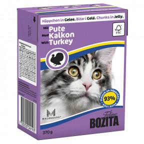 Влажный корм для кошек BOZITA Feline беззерновой, с индейкой (кусочки в желе) 370 г