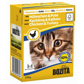 Влажный корм для кошек BOZITA Feline беззерновой, с курицей, с индейкой (кусочки в соусе) 370 г