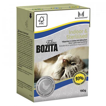 Влажный корм для стерилизованных кошек BOZITA Feline Indoor & Sterilised беззерновой, с курицей, кусочки в желе 190 г