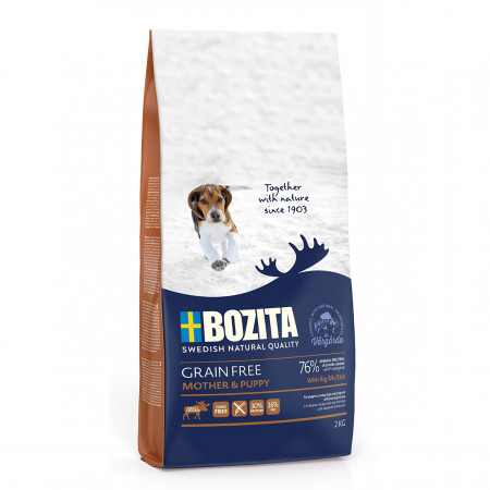 Сухой корм для щенков, для беременных/кормящих собак BOZITA Grain Free Mother & Puppy Elk беззерновой, курица, лось, с картофелем 2 кг