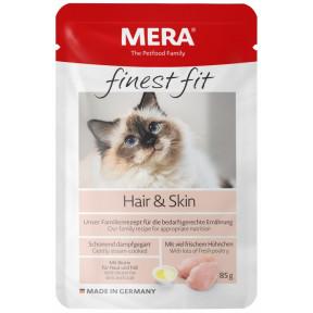 Влажный корм для кошек MERA Finest Fit Hair&Skin для здоровья кожи и блеска шерсти, с курицей 85 г
