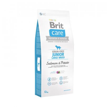 Сухой корм для собак BRIT Care Grain-free Junior Large Breed беззерновой, для юниоров крупных пород (от 3 месяцев до 2 лет), с лососем с картофелем 12 кг