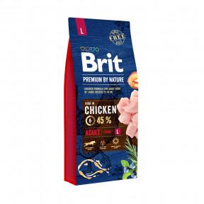 Сухой корм для собак BRIT PREMIUM by Nature Adult L с курицей (для крупных пород) 3кг