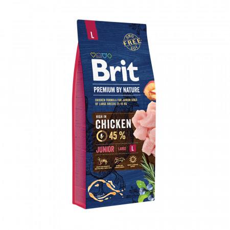Сухой корм для щенков BRIT PREMIUM by Nature Junior L с курицей (для крупных пород) 15 кг