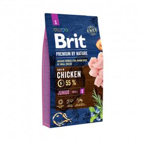 Сухой корм для щенков BRIT PREMIUM by Nature Junior S с курицей (для мелких пород) 1 кг