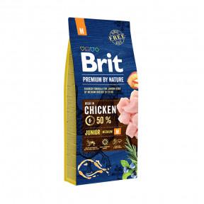 Сухой корм для щенков BRIT PREMIUM by Nature Junior M с курицей (для средних пород) 15 кг