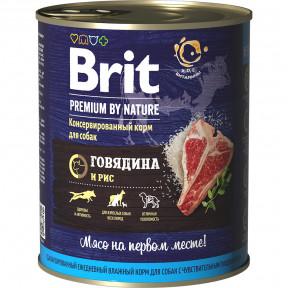 Влажный корм для собак BRIT PREMIUM by Nature при чувствительном пищеварении, Говядина и рис 850 г
