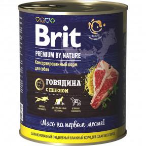Влажный корм для собак BRIT PREMIUM by Nature Говядина с пшеном 850 г