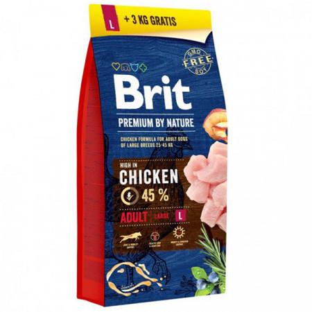 Сухой корм для собак BRIT PREMIUM by Nature Adult L с курицей (для крупных пород) 15 кг + 3 кг