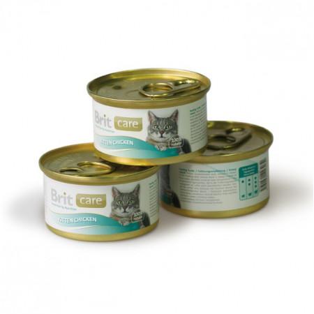 Влажный корм для котят BRIT Care Kitten с курицей (мини-филе) 80 г