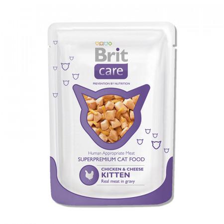 Влажный корм для котят BRIT Care Kitten с курицей с сыром (кусочки в соусе) 80 г