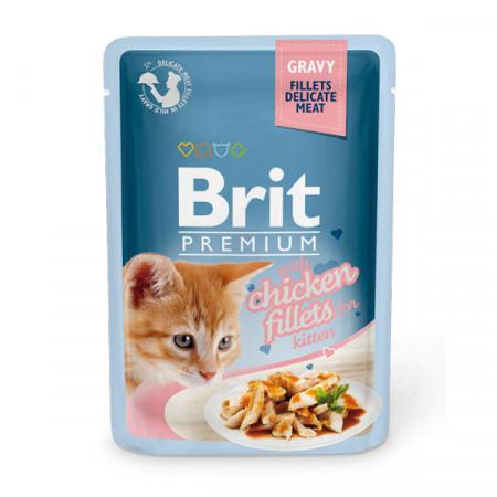 Влажный корм для котят BRIT Premium GRAVY Chiсken fillets for Kitten Курица в соусе 85 г