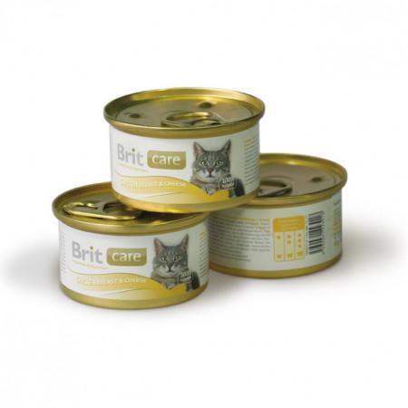 Влажный корм для кошек BRIT Care с куриной грудкой и сыром 80 г