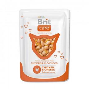 Влажный корм для кошек BRIT Care с курицей с сыром (кусочки в соусе) 80 г