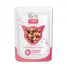 Влажный корм для кошек BRIT Care с курицей с уткой (кусочки в соусе) 80 г