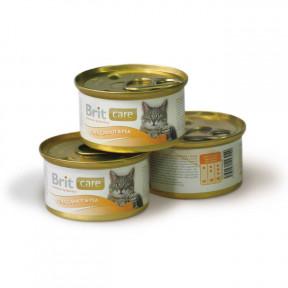 Влажный корм для кошек BRIT Care с тунцом, с морковью и горошком 80 г