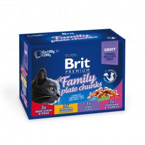 Влажный корм для кошек BRIT Premium Family Plate Chunks ассорти, Семейная тарелка (курица и индейка, говядина, форель и лосось, треска) 12 шт х 100 г