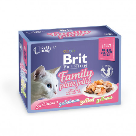 Влажный корм для кошек BRIT Premium Family Plate Jelly ассорти, Семейная тарелка, курица, лосось, говядина, форель (кусочки в желе) 12 шт х 85 г