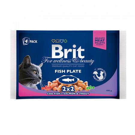 Влажный корм для кошек BRIT Premium Fish Plate ассорти, Рыбная тарелка, лосось и форель, треска (кусочки в соусе) 4 шт х 100 г