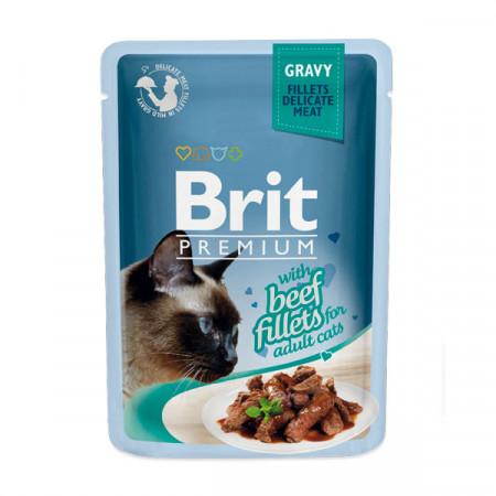 Влажный корм для кошек BRIT Premium Gravy беззерновой, Говядина (кусочки в соусе) 85 г