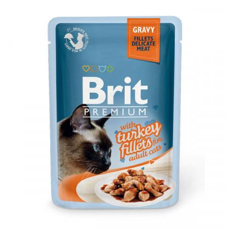 Влажный корм для кошек BRIT Premium Gravy беззерновой, Индейка (кусочки в соусе) 85 г