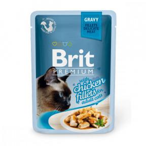 Влажный корм для кошек BRIT Premium Gravy беззерновой, Курица (кусочки в соусе) 85 г