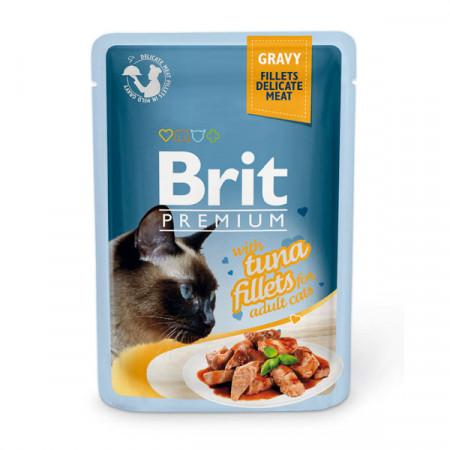 Влажный корм для кошек BRIT Premium Gravy беззерновой, Тунец (кусочки в соусе) 85 г