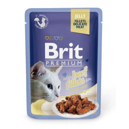 Влажный корм для кошек BRIT Premium Jelly беззерновой, Говядина (кусочки в желе) 85 г