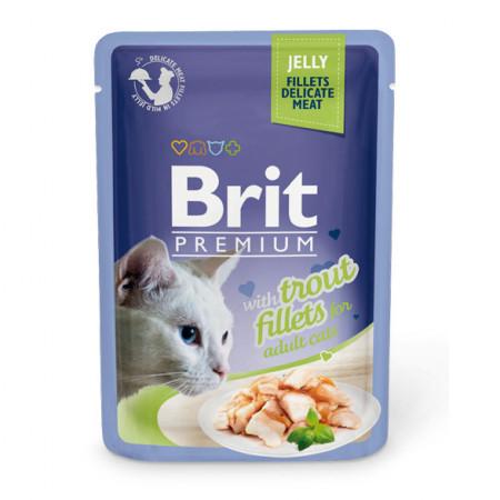 Влажный корм для кошек BRIT Premium Jelly беззерновой, Форель (кусочки в желе) 85 г