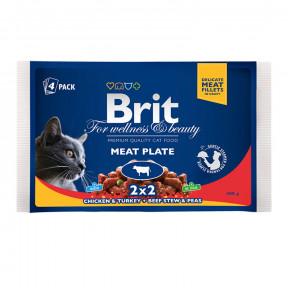 Влажный корм для кошек BRIT Premium Meat Plate ассорти, Мясная тарелка, курица и индейка, говядина с горошком (кусочки в соусе) 4 шт х 100 г