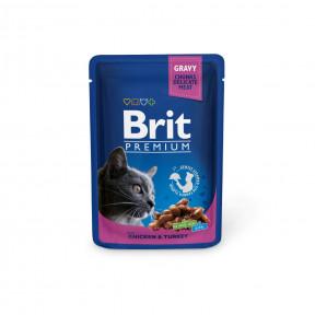 Влажный корм для кошек BRIT Premium беззерновой, Курица и индейка (кусочки в соусе) 100 г