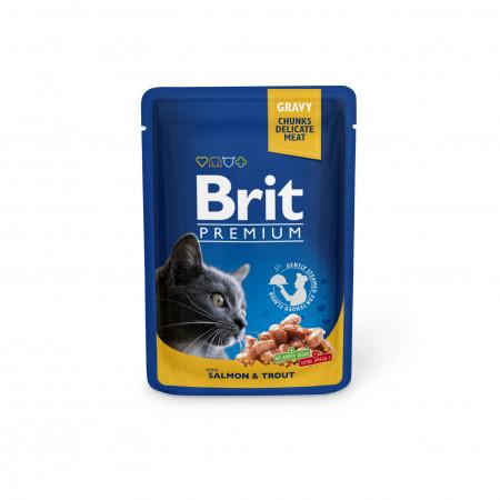 Влажный корм для кошек BRIT Premium беззерновой, Лосось и форель (кусочки в соусе) 100 г