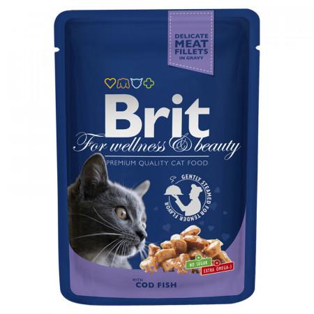 Влажный корм для кошек BRIT Premium беззерновой, Треска (кусочки в соусе)100 г