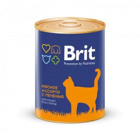 Влажный корм для кошек BRIT Premium мясное ассорти с печенью (паштет) 340 г