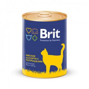 Влажный корм для кошек BRIT Premium мясное ассорти с потрошками (паштет) 340 г