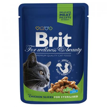 Влажный корм для стерилизованных кошек BRIT Premium Chicken Slice for Sterilized беззерновой, с курицей (кусочки в соусе) 100 г