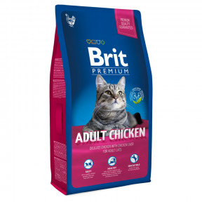 Сухой корм для кошек BRIT Premium Adult Chicken с курицей и с куриной печенью 8 кг