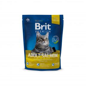 Сухой корм для кошек BRIT Premium Adult Salmon с лососем в соусе 300 г