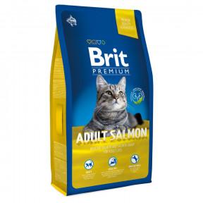 Сухой корм для кошек BRIT Premium Adult Salmon с лососем в соусе 8 кг