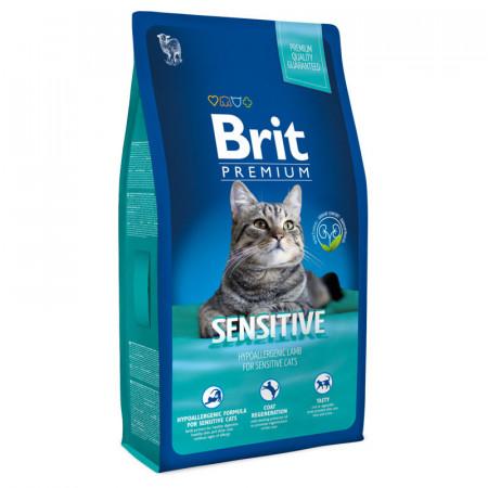 Сухой корм для кошек BRIT Premium Sensitive гипоаллергенный, при чувствительном пищеварении, с ягненком 1.5 кг