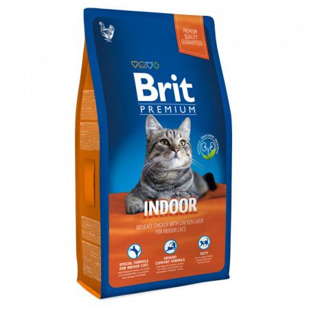 Сухой корм для кошек, живущих в помещении BRIT Premium Indoor с курицей и с куриной печенью 1.5 кг